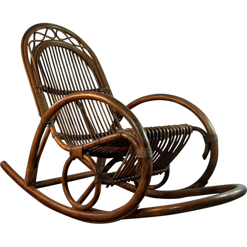 Vintage bamboo and folded wood rocking chair, Germany, 1950s