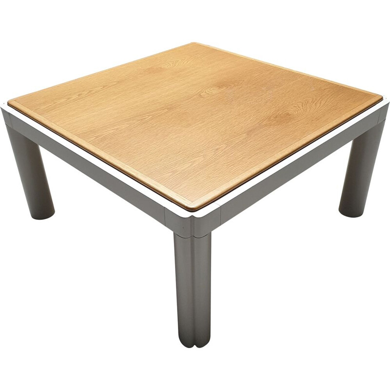 Vintage coffee table with oak top by Kho Liang Ie for Artifort, 1974s