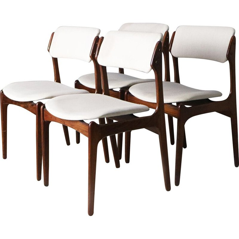 Set 4 vintage rosewood dining chairs by Erik Buch, 1960s