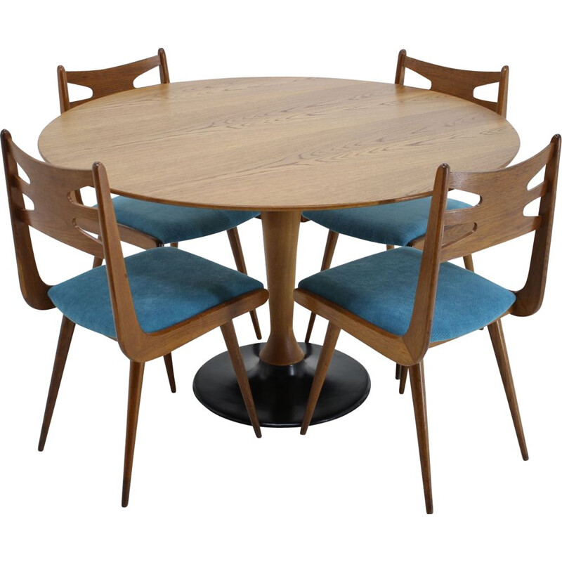 Vintage Oak dining set, Czechoslovakia, 1970s