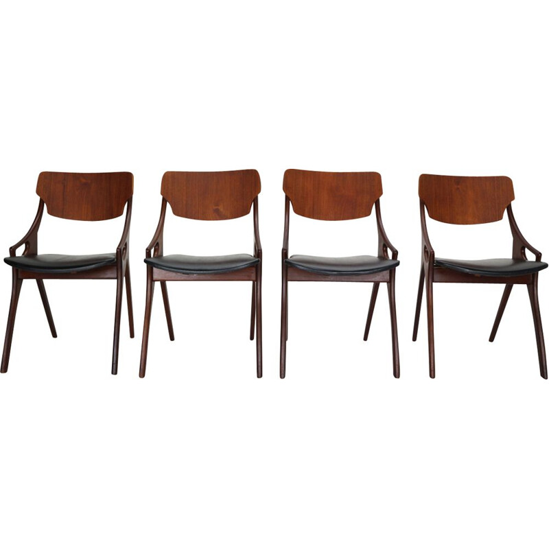 Set of 4 vintage Dining Chairs by Arne Hovmand Olsen for Mogens Kold, Denmark, 1960s
