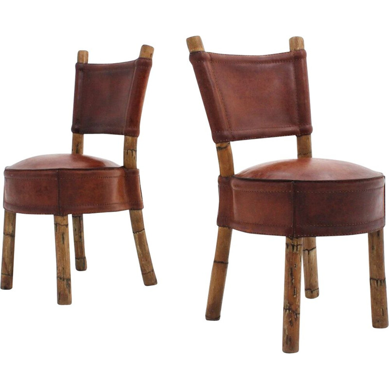 Set of 2 Vintage leather and rattan chairs