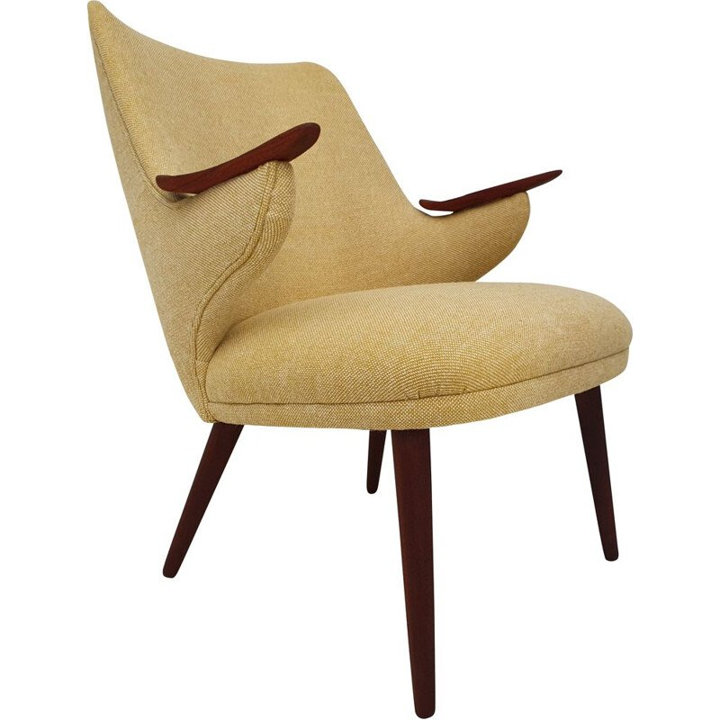 Vintage teak and wool fabric armchair by Erling Olsen, Denmark, 1960s
