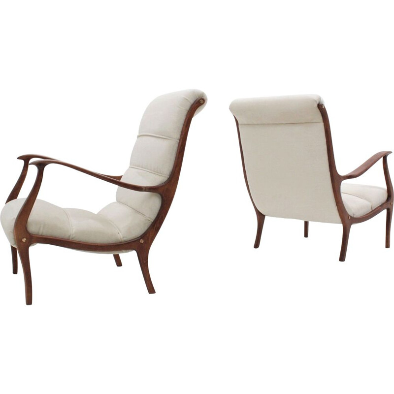 Set of 2 vintage velvet armchairs by Ezio Longhi for ELAM, 1950s
