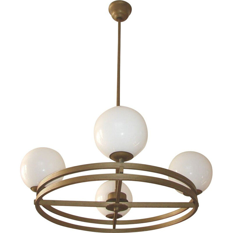 Vintage Art deco chandelier in brass and glass, 1930s