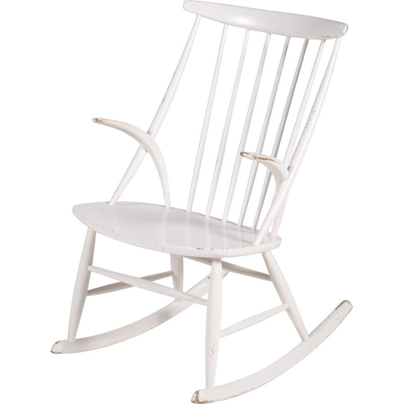 Vintage Model IW3 Rocking Chair by Illum Wikkelsø for Niels Eilersen, 1950s