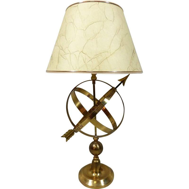 Brass vintage table lamp in sundial design, 1970s