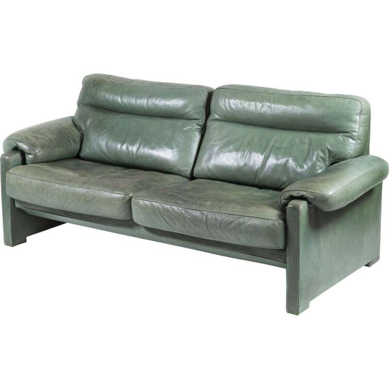 Green leather vintage sofa from de De Sede, 1980s