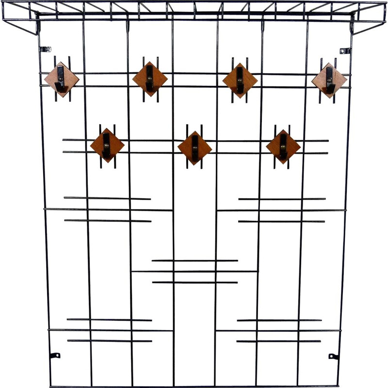 Black wire steel and wooden vintage wall coat rack with hat shelf, 1960s