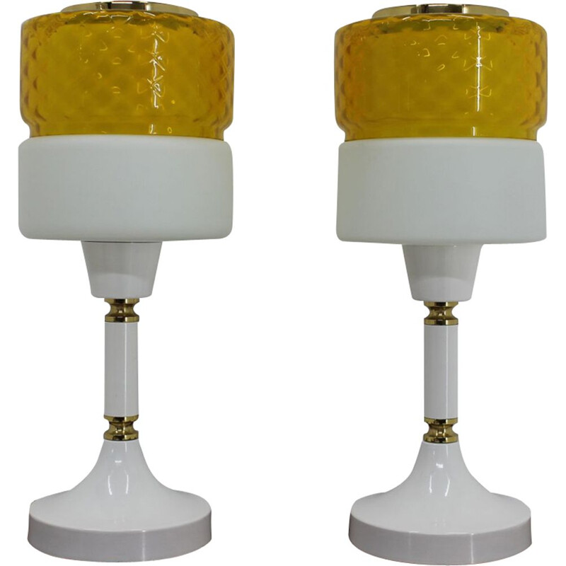 Pair of glass and metal table lamps, Czechoslovakia, 1970s