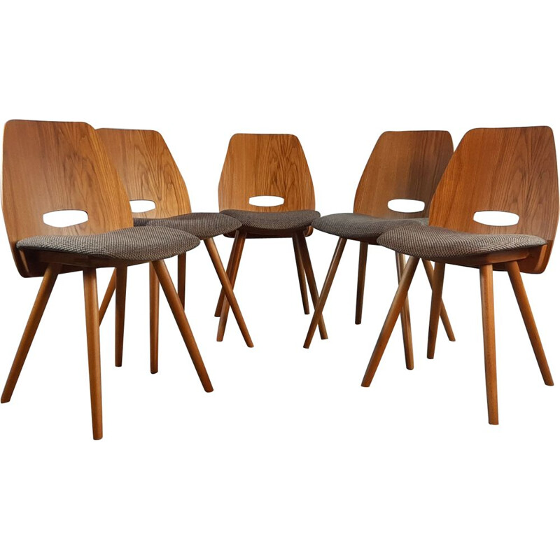 Set of 5 vintage beech Lollipops chairs, Jiràk by TATRA, 1960s