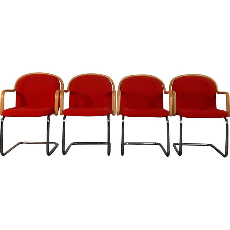 Set of 4 vintage cantilever chairs in beech, metal and red fabric, 1970s