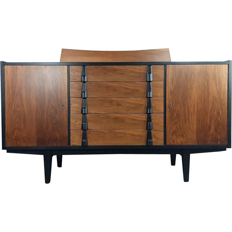 Polish burr-walnut sideboard by Rajmund Halas, 1960s
