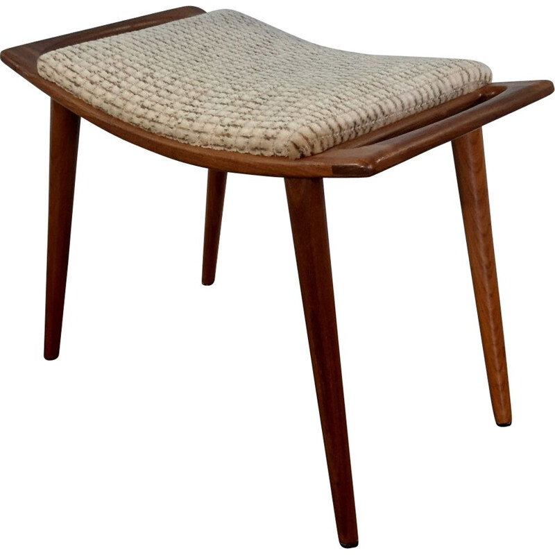 Vintage norwegian wool and teak stool, 1950s