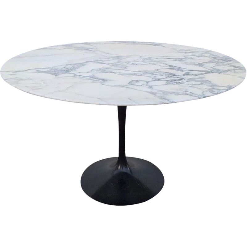 Vintage tulip dining table in Saarinen marble for Knoll