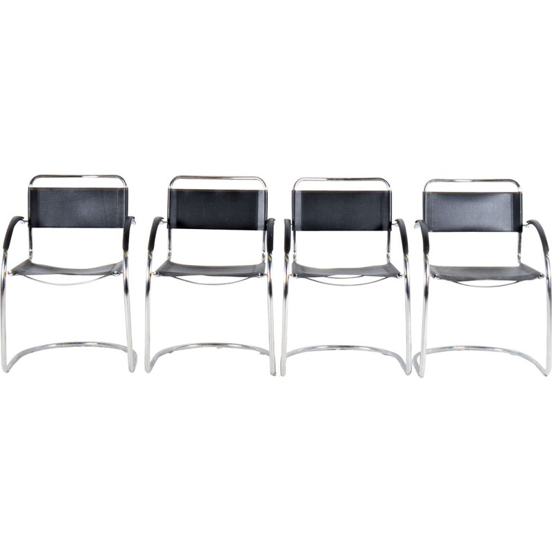 Set of 4 italian leather vintage chairs by Marcel Breuer