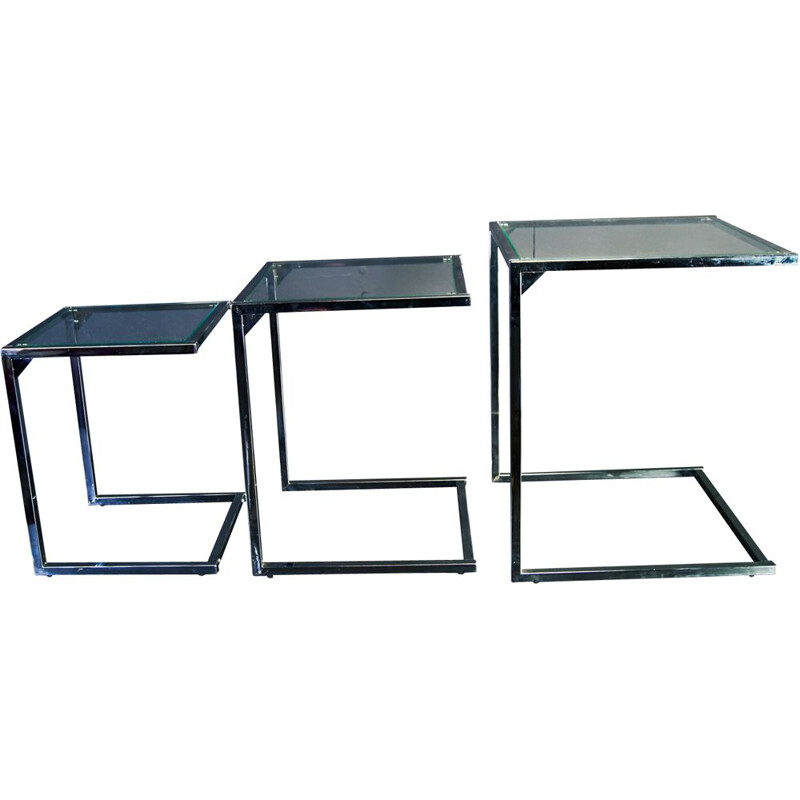 Chrome square vintage nesting tables with glasstop