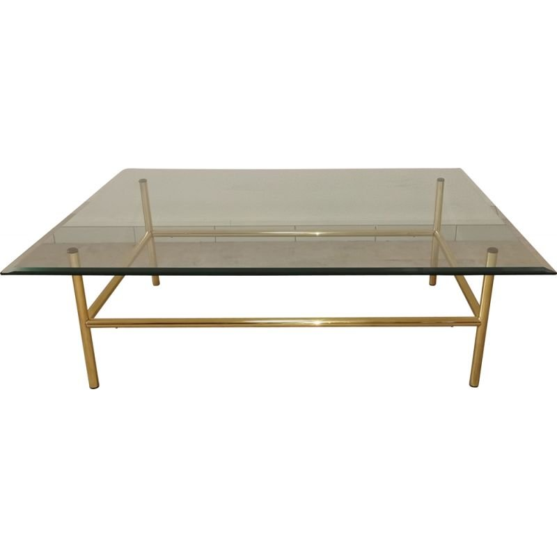 Vintage coffee table in glass and gilded metal 1980