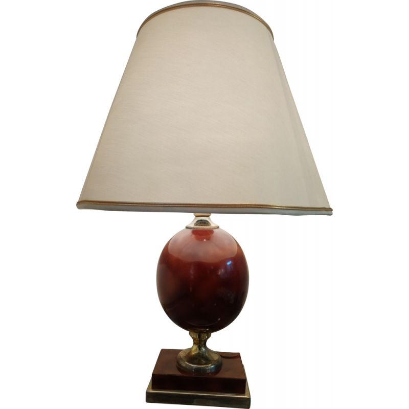 Vintage neoclassical table lamp cream color 1970