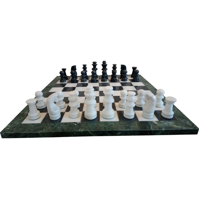 Large vintage chess board and vintage chess sets in onyx marble