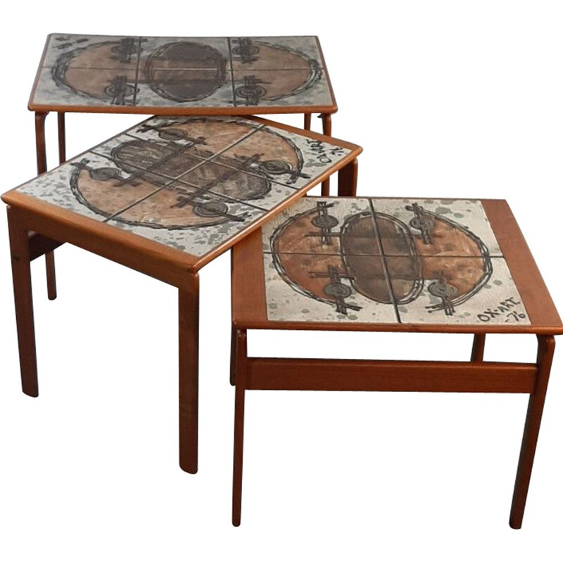 Set of 3 teak & ceramic nesting tables, design OX Art by Trioh, 1976