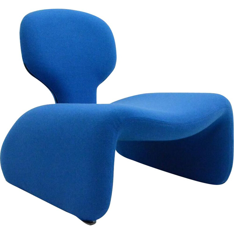 Vintage blue armchair Djinn series by Olivier Mourgue