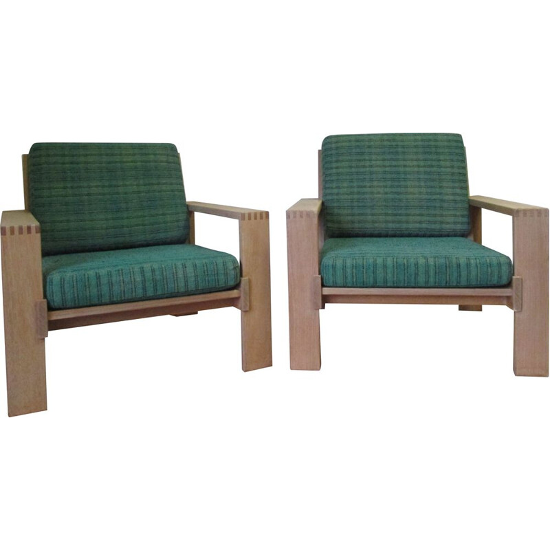 Pair of vintage natural oak armchairs from Esko Pajamiès