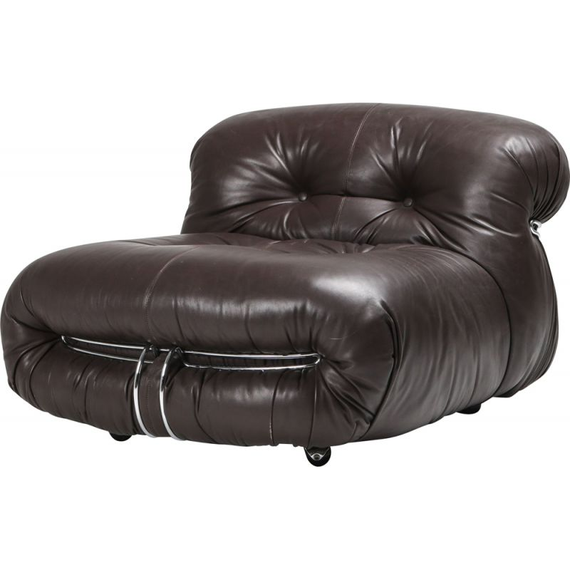 Vintage Soriana lounge chair in dark brown leather by Afra & Tobia Scarpa 1969