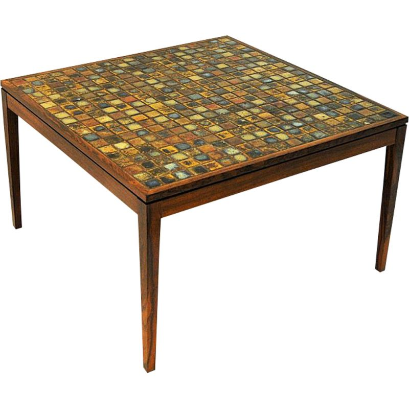 Vintage rosewood table with small ceramic tiles, Denmark, 1960s