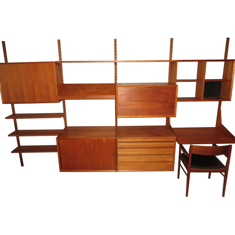 Large modular vintage teak shelf by Poul Cadovius 1960
