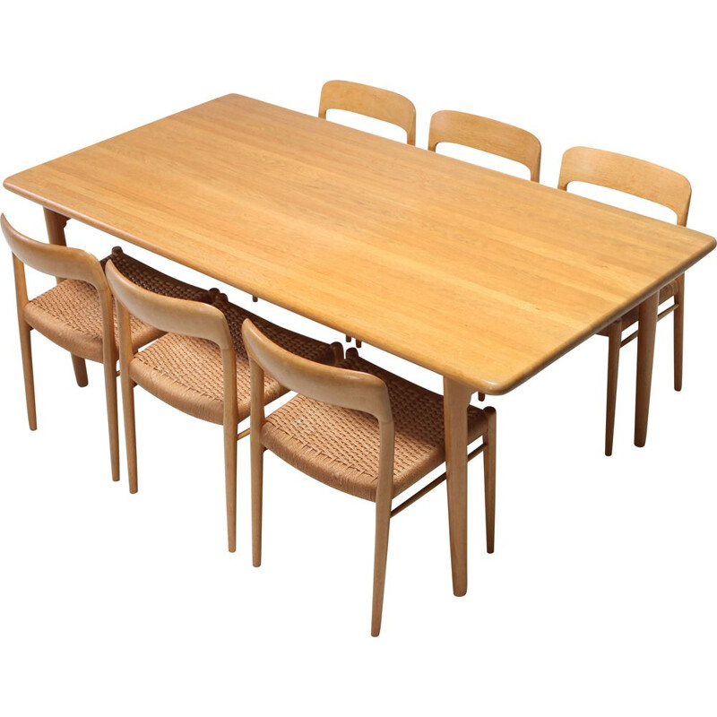 Vintage Scandinavian modern dining set in oak by N.0. Möller for J.L. Moller, 1970s