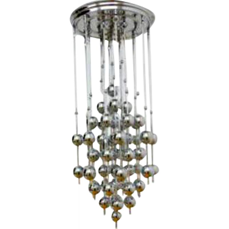 "Vintage ""Ball"" chromed metal suspension lamp by Verner PANTON, 1970"