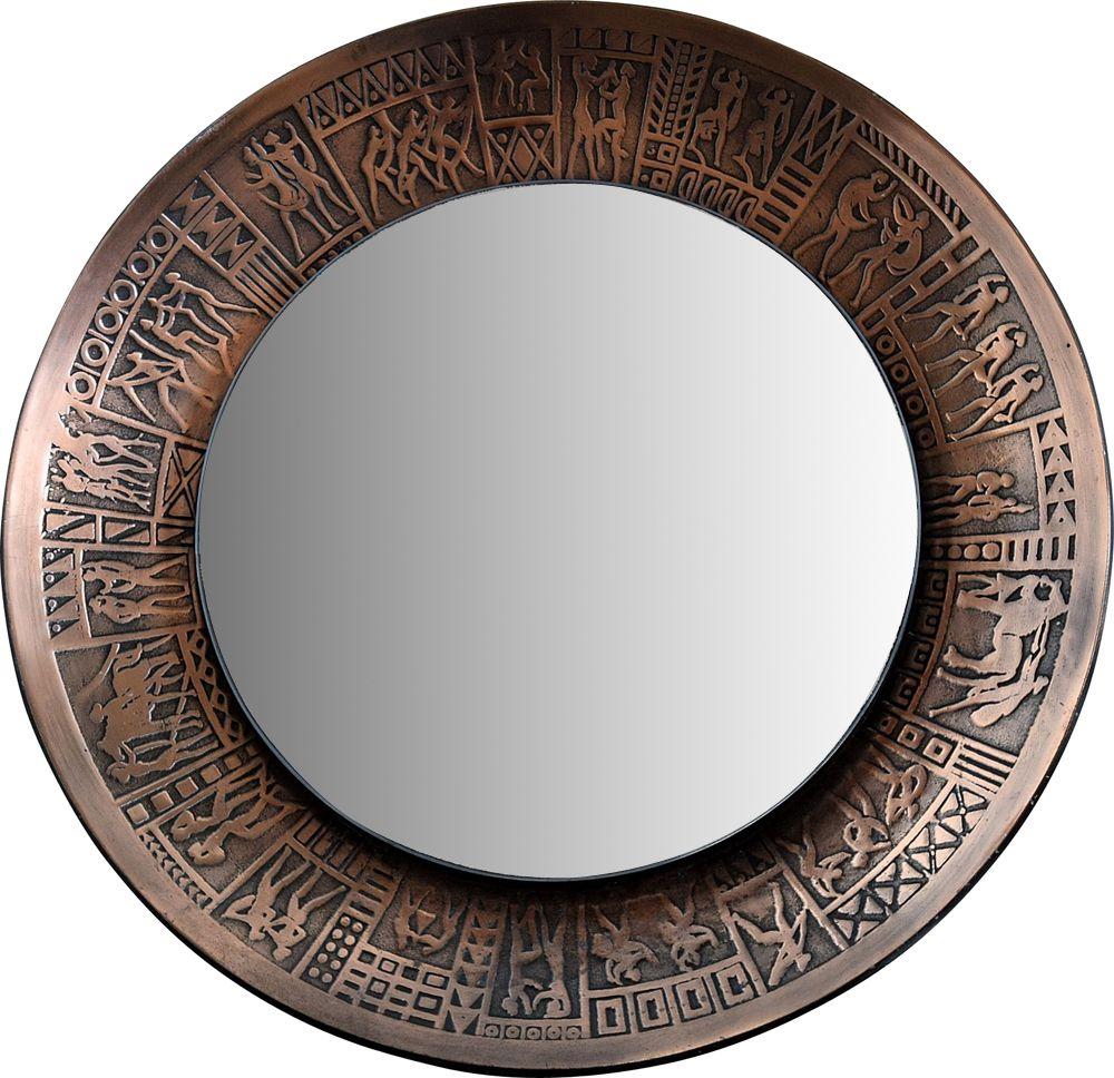 Vintage Italian Copper Modern Round Wall Mirror By M Furgeri Design Market