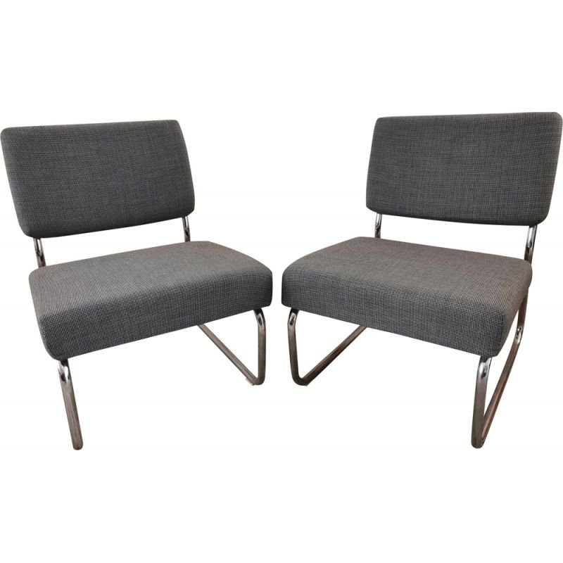 Pair of vintage chrome and fabric low chairs