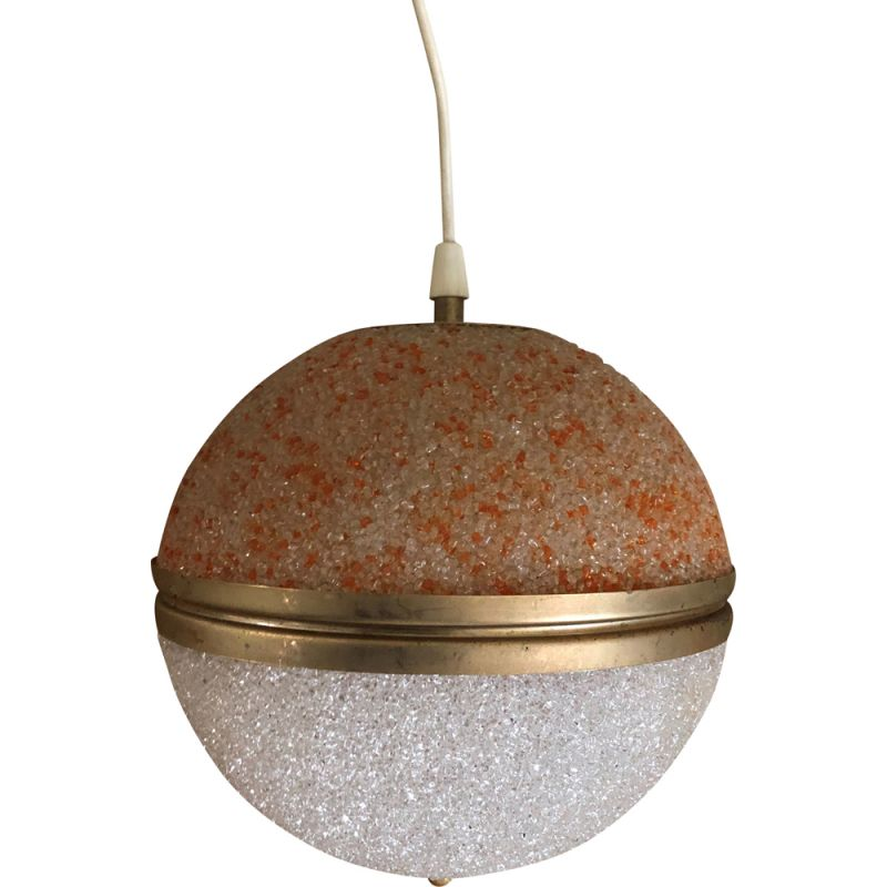 Vintage perspex and two-tone brass pendant, 1970s