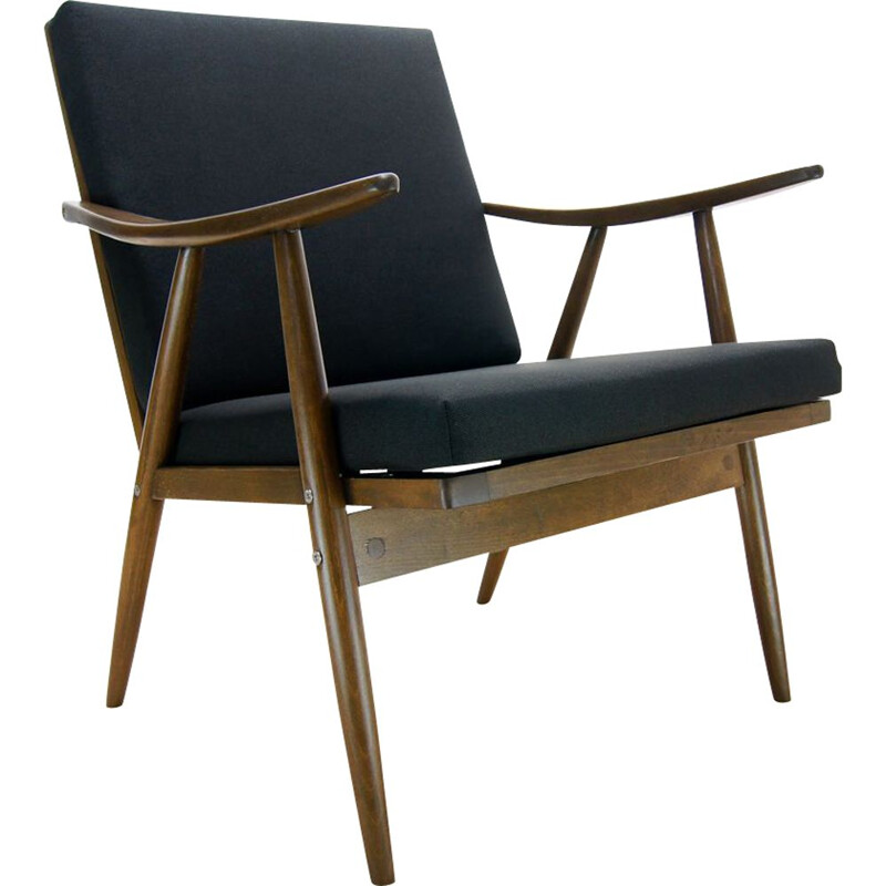Vintage Czech black armchair from TON, 1960s