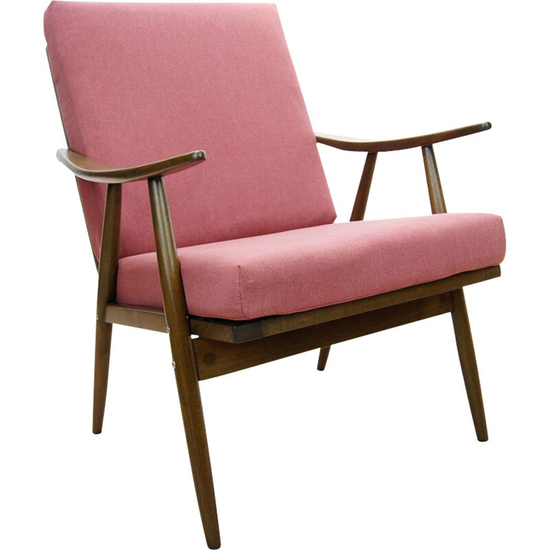 Vintage Czech pink armchair from TON, 1960s