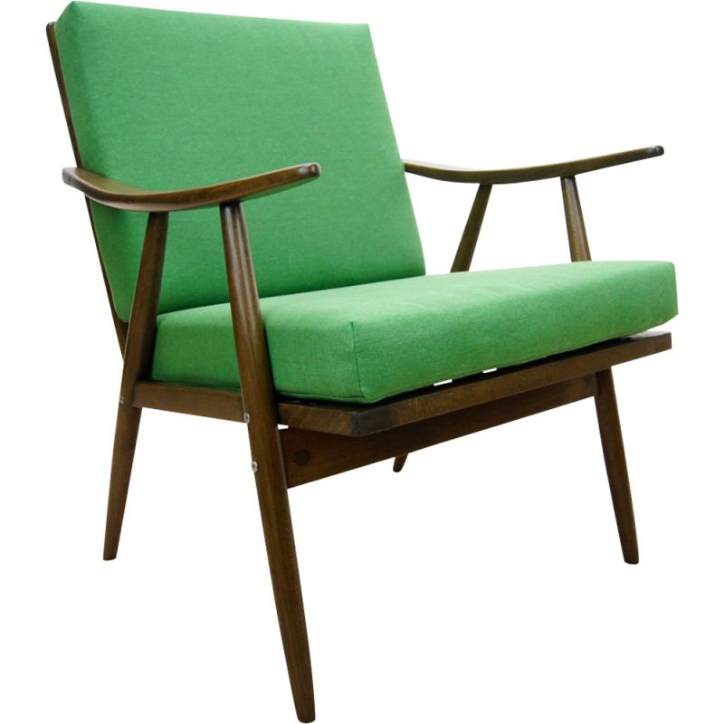 Vintage Czech green armchair from TON, 1960s