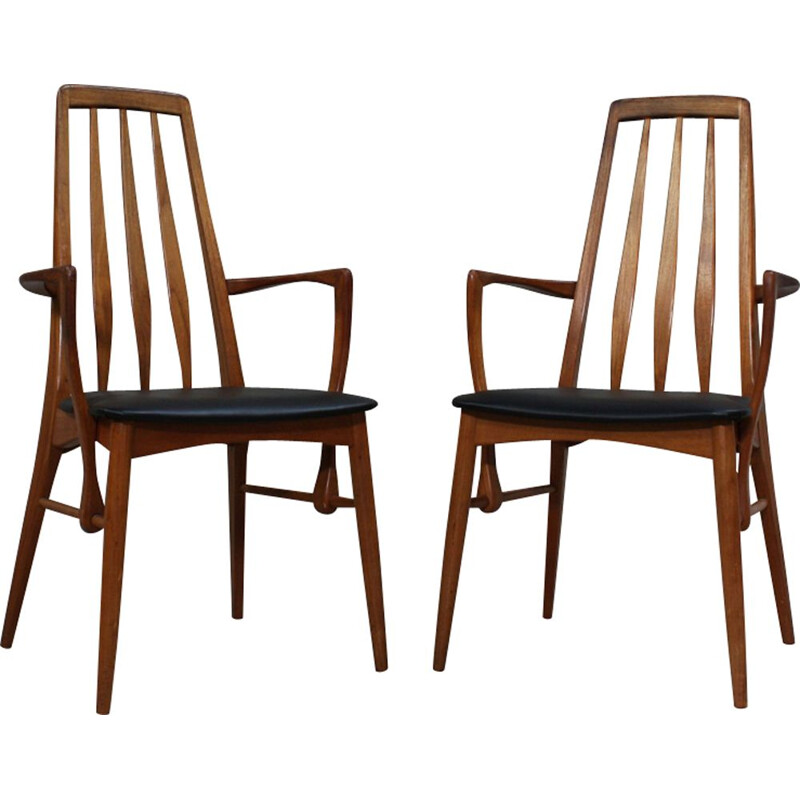 Pair of vintage Eva dining chairs by Niels Kofoed for Koefoeds Mobelfabrik, 1960s