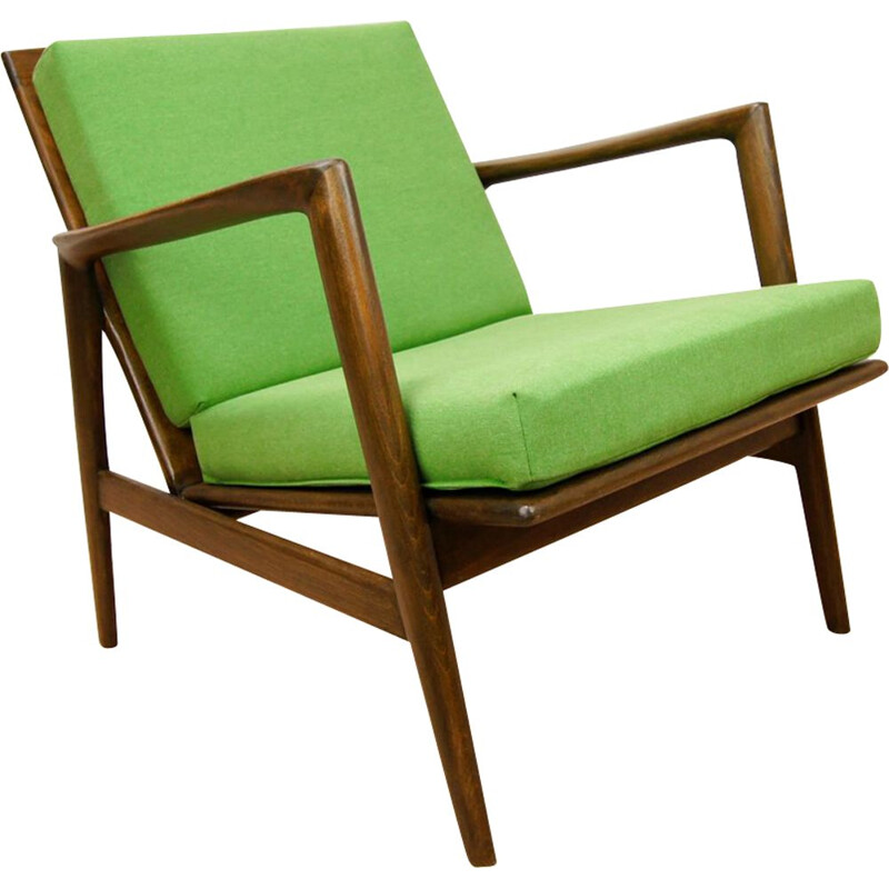 Vintage green Armchair 300-139 by Swarzędzka Furniture Factory, 1960s