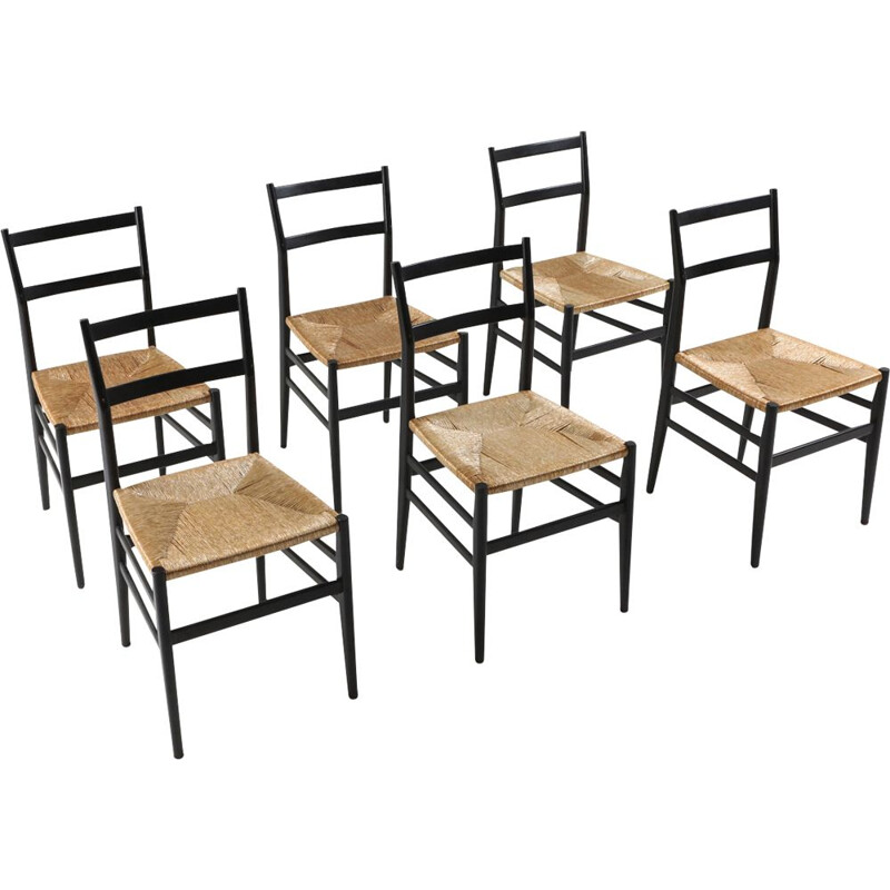 Vintageset of 6 Leggera dining chairs by Gio Ponti for Cassina 1980s