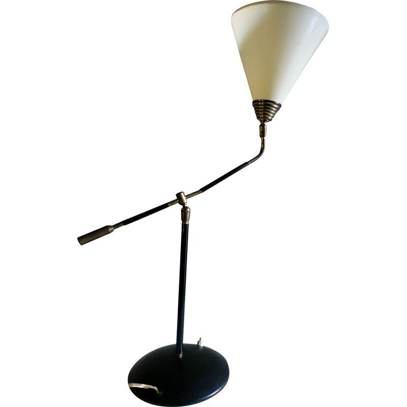 Vintage metal and brass swinging table lamp 1960