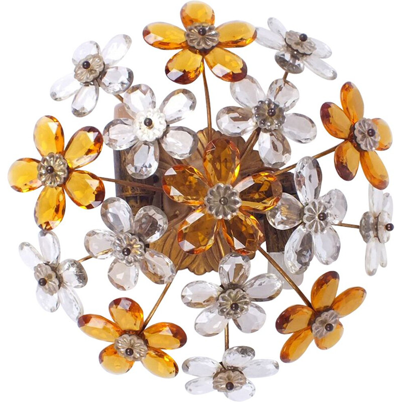 Vintage Flower hanging lamp, Italy 1950