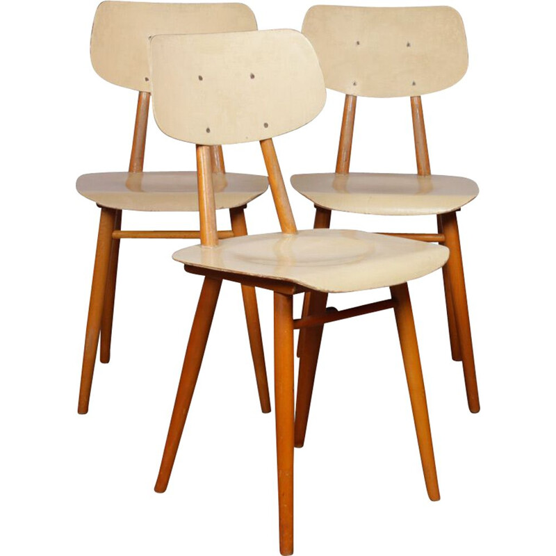 Set of 3 vintage Czech chairs for Ton, 1960