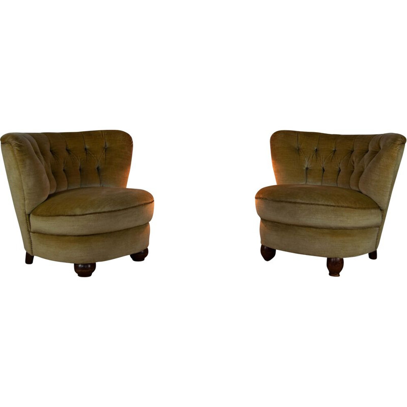 Vintage Club Chairs in Mohair Velvet 1950