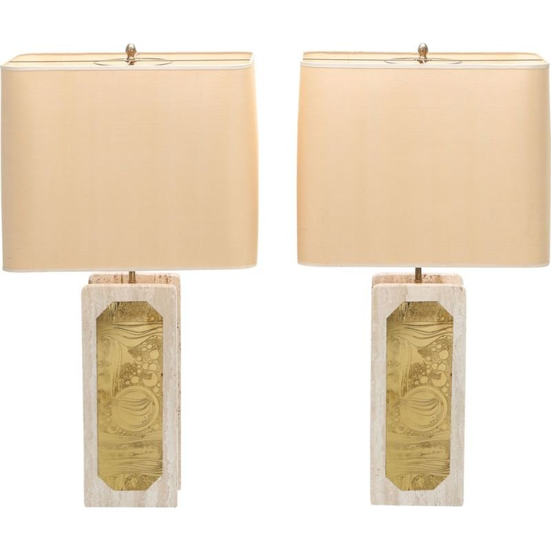 Pair of vintage brass and travertine lamps by George Matthias 1970s