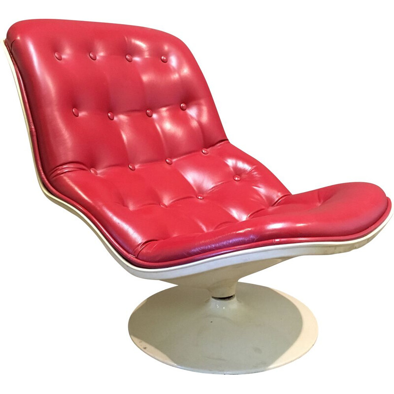 Leather swivel rocking chair by Georges-Charles Van Rijck for Beaufort 1971