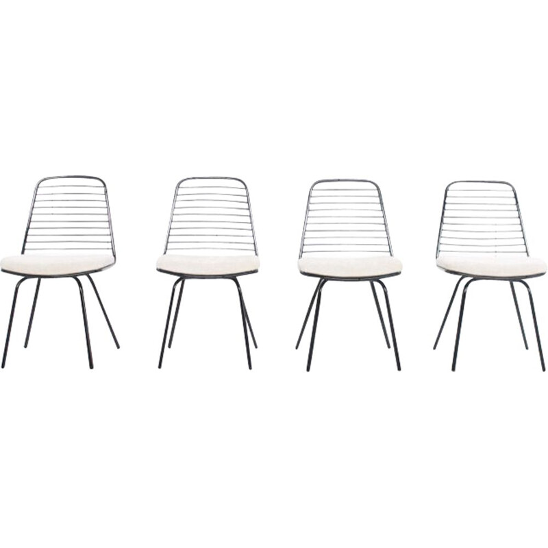 Set of 4 vintage chairs by Jean Louis Bonnant, 1950