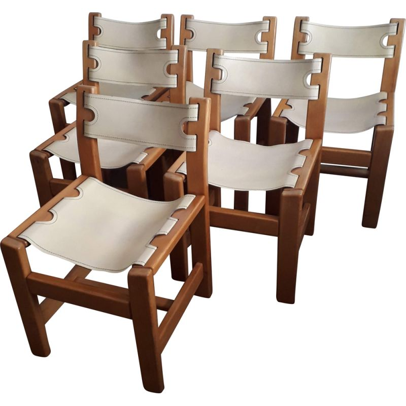 Set of 6 chairs by Maison Regain in solid elm and leather