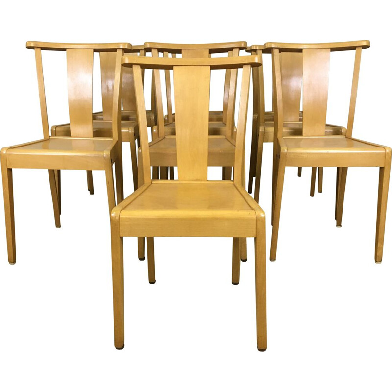 Set of 10 Stella Solid Beech Chairs 1960